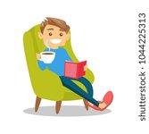 caucasian white man relaxing... | Shutterstock .eps vector #1044225313