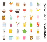beverage and glass set  flat... | Shutterstock .eps vector #1044226393