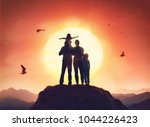 happy family at sunset. father  ... | Shutterstock . vector #1044226423