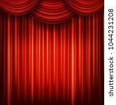 red closed curtain with light...   Shutterstock .eps vector #1044231208