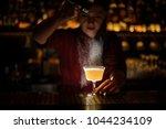 female bartender serving a... | Shutterstock . vector #1044234109