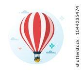 hot air balloon. flat cartoon... | Shutterstock .eps vector #1044235474