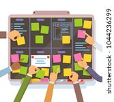agile project plan. hands... | Shutterstock .eps vector #1044236299