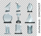 glossy transparent trophies ... | Shutterstock .eps vector #1044236329