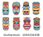hawaiian mask of tiki god.... | Shutterstock .eps vector #1044236338