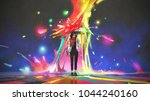 woman holding umbrella...   Shutterstock . vector #1044240160