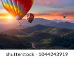 colorful hot air balloons... | Shutterstock . vector #1044243919