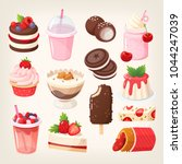 set of delicious sweet desserts ... | Shutterstock .eps vector #1044247039