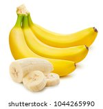 Small photo of Bunch of bananas and slices isolated on white background Clipping Path