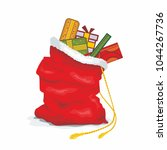 santa big bag. christmas sack... | Shutterstock .eps vector #1044267736