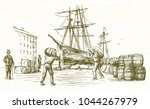 vintage harbor. hand drawn... | Shutterstock .eps vector #1044267979