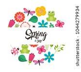 hello spring card | Shutterstock .eps vector #1044279934