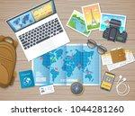 preparing for vacation  travel  ... | Shutterstock .eps vector #1044281260
