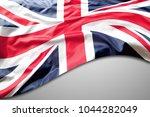 union jack flag on grey... | Shutterstock . vector #1044282049
