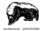 honey badger. ink vector... | Shutterstock .eps vector #1044293584