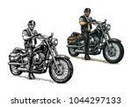 man in the motorcycle helmet... | Shutterstock .eps vector #1044297133