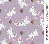 cute bunny seamless texture ...   Shutterstock . vector #1044307084
