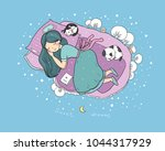 girl cats and dog sleep in bed... | Shutterstock .eps vector #1044317929