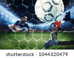 football scene with competing... | Shutterstock . vector #1044320479
