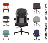 set of office chairs flat... | Shutterstock .eps vector #1044324196