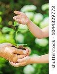 child and senior man holding... | Shutterstock . vector #1044329773