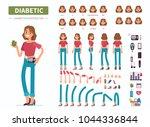 diabetic woman character ... | Shutterstock .eps vector #1044336844