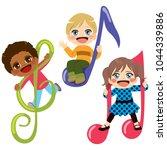 three diverse cute children...   Shutterstock .eps vector #1044339886