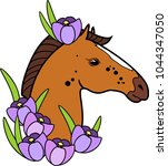 brown horse head with purple... | Shutterstock .eps vector #1044347050