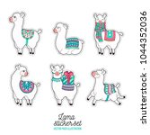 cute llama and alpaca sticker.... | Shutterstock .eps vector #1044352036