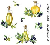 watercolor set with olive... | Shutterstock . vector #1044354526