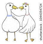 couple ducks  goose in love...   Shutterstock .eps vector #1044354724