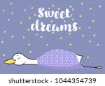 premade postcard with duck ... | Shutterstock .eps vector #1044354739