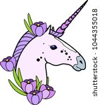 head of pink unicorn with... | Shutterstock .eps vector #1044355018