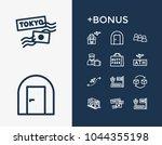 tourism icon set and door...