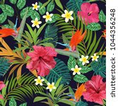 tropical leaves and flowers... | Shutterstock .eps vector #1044356248