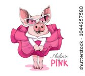 pig in a pink dress and in a... | Shutterstock .eps vector #1044357580