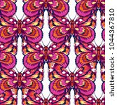 embroidery pink butterfly ... | Shutterstock .eps vector #1044367810