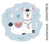 hand drawn cartoon llama. cute... | Shutterstock .eps vector #1044370876
