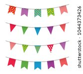 garland with colorful flags.... | Shutterstock .eps vector #1044373426