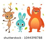 vector cartoon style bear bunny ... | Shutterstock .eps vector #1044398788