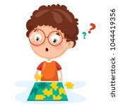 Stock vector vector illustration of kid playing puzzle 1044419356