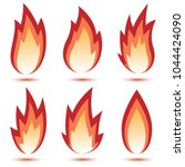 abstract red flame icon set... | Shutterstock . vector #1044424090