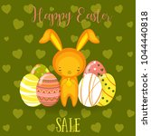 greeting cards with cute easter ... | Shutterstock .eps vector #1044440818