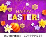 easter greeting card with...   Shutterstock .eps vector #1044444184