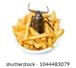 offer of fast food with edible... | Shutterstock . vector #1044483079