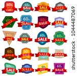 set of twenty discount stickers.... | Shutterstock . vector #1044487069