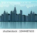 paper skyscrapers. achitectural ... | Shutterstock .eps vector #1044487633