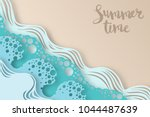 abstract paper art sea or ocean ... | Shutterstock .eps vector #1044487639
