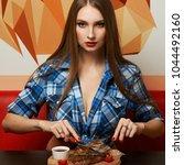 gorgeous seductive woman...   Shutterstock . vector #1044492160