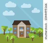 lone two storey house in a... | Shutterstock . vector #1044495166